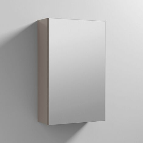 Nuie Athena 1-Door Mirrored Bathroom Cabinet 715mm H x 450mm W - Stone Grey