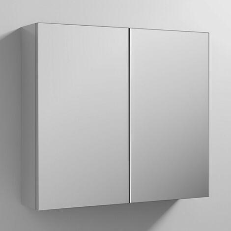 Nuie Athena (50/50) Mirrored Bathroom Cabinet 715mm H x 800mm W - Gloss Grey Mist