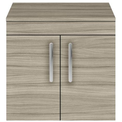 Nuie Athena Driftwood 600mm Wall Hung 2 Door Vanity Unit with Worktop - ATH089W