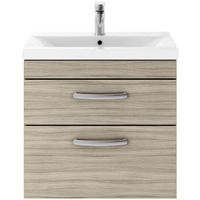 Nuie Athena Driftwood 600mm Wall Hung 2 Drawer Vanity Unit with 40mm Profile Basin - ATH043A