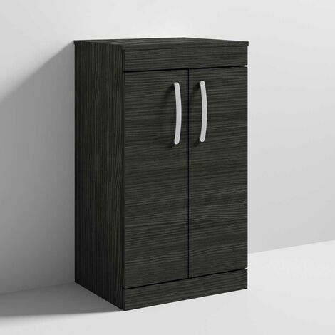 Nuie Athena Floor Standing 2-Door Vanity Unit and Worktop 500mm Wide - Hacienda Black