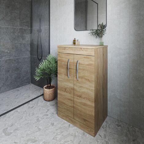 Nuie Athena Floor Standing 2-Door Vanity Unit and Worktop 500mm Wide - Natural Oak