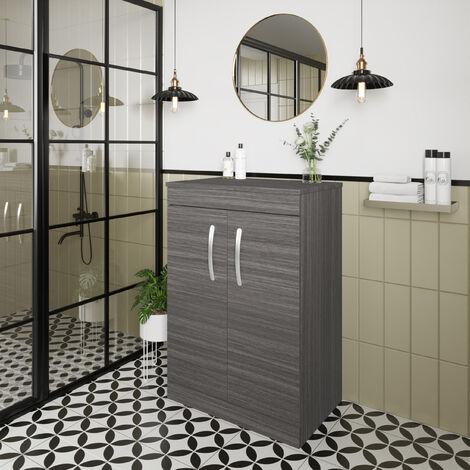 """main image of """"Nuie Athena Floor Standing 2-Door Vanity Unit and Worktop 600mm Wide - Brown Grey Avola"""""""