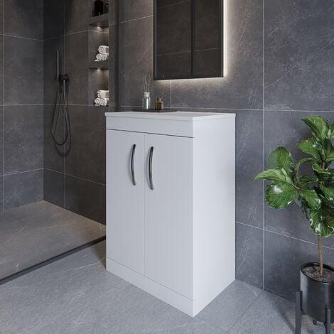 Nuie Athena Floor Standing 2-Door Vanity Unit and Worktop 600mm Wide - Gloss White