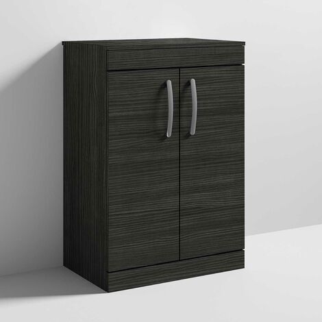Nuie Athena Floor Standing 2-Door Vanity Unit and Worktop 600mm Wide - Hacienda Black