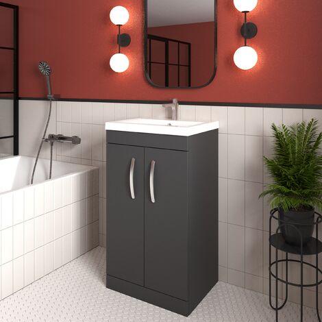 Nuie Athena Floor Standing 2-Door Vanity Unit Basin-2 500mm Wide - Gloss Grey