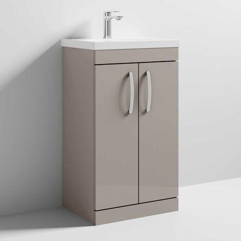 Nuie Athena Floor Standing 2-Door Vanity Unit with Basin 1 Stone Grey - 500mm Wide