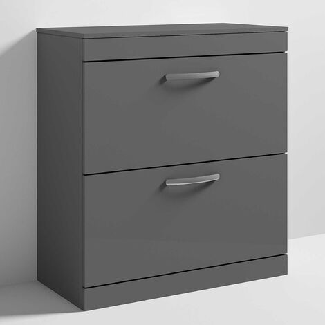 Nuie Athena Floor Standing 2-Drawer Vanity Unit and Worktop 800mm Wide - Gloss Grey