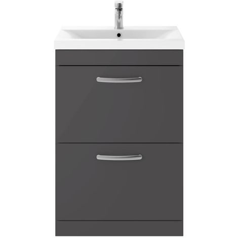 Nuie Athena Floor Standing 2-Drawer Vanity Unit with Basin-1 600mm Wide - Gloss Grey
