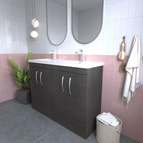 Nuie Athena Floor Standing 4-Door Vanity Unit with Double Basin 1200mm Wide - Brown Grey Avola