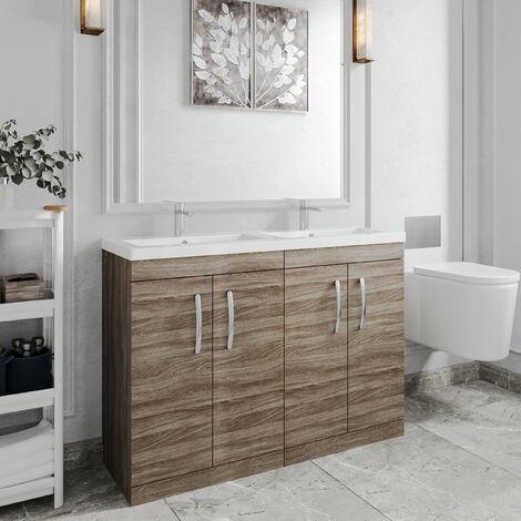 Nuie Athena Floor Standing 4-Door Vanity Unit with Double Basin 1200mm Wide - Driftwood