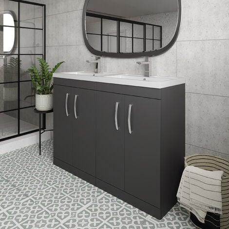 Nuie Athena Floor Standing 4-Door Vanity Unit with Double Basin 1200mm Wide - Gloss Grey