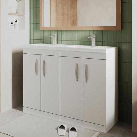 Nuie Athena Floor Standing 4-Door Vanity Unit with Double Basin 1200mm Wide - Gloss White