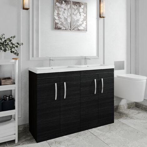 Nuie Athena Floor Standing 4-Door Vanity Unit with Double Basin 1200mm Wide - Hacienda Black