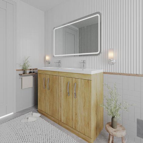 Nuie Athena Floor Standing 4-Door Vanity Unit with Double Basin 1200mm Wide - Natural Oak