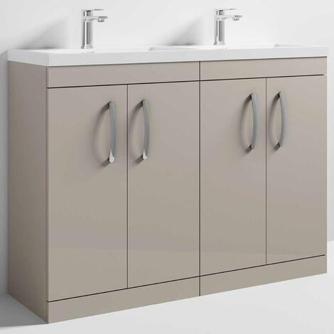 Nuie Athena Floor Standing 4-Door Vanity Unit with Double Basin 1200mm Wide - Stone Grey