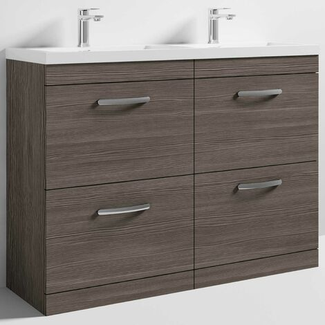Nuie Athena Floor Standing 4-Drawer Vanity Unit with Double Basin 1200mm Wide - Brown Grey Avola