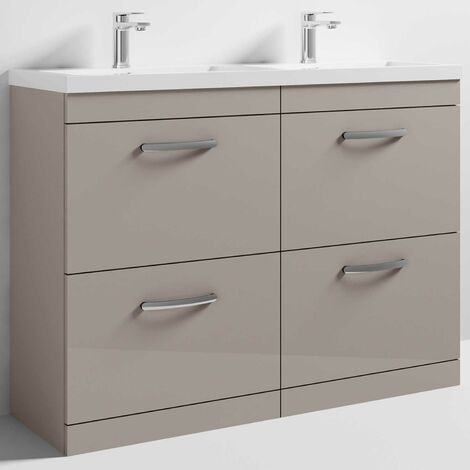 Nuie Athena Floor Standing 4-Drawer Vanity Unit with Double Basin 1200mm Wide - Stone Grey
