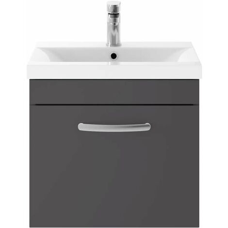 Nuie Athena Gloss Grey 500mm Single Drawer Vanity Unit with 18mm Profile Basin - ATH073B