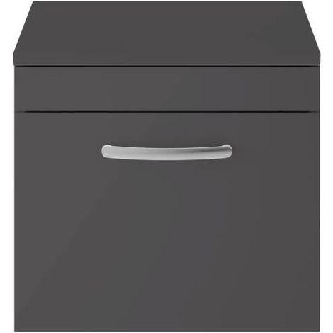 Nuie Athena Gloss Grey 500mm Single Drawer Vanity Unit with Worktop - ATH073W