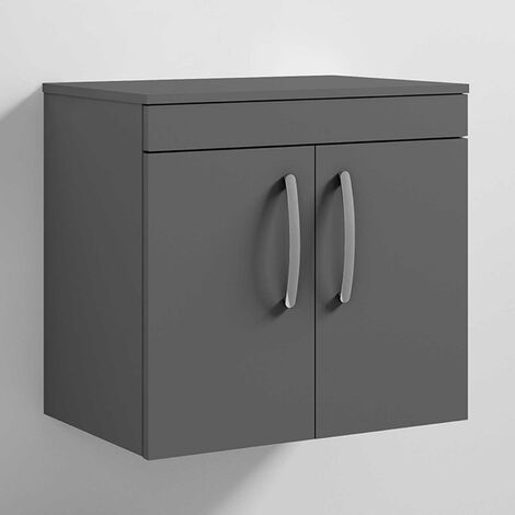 Nuie Athena Gloss Grey 600mm Wall Hung 2 Door Vanity Unit with Worktop - ATH094W