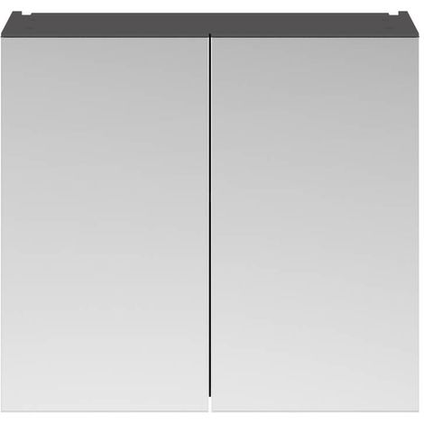 Nuie Athena Gloss Grey 800mm Mirror Cabinet with 50/50 Split Doors - OFF919