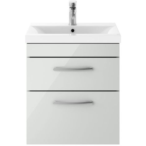 Nuie Athena Gloss Grey Mist 500mm Wall Hung 2 Drawer Vanity Unit with 50mm Profile Basin - ATH105D