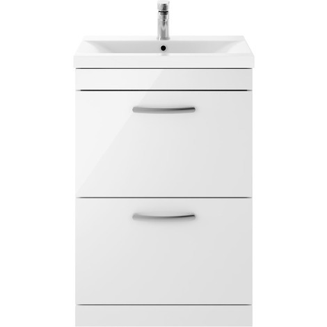 Nuie Athena Gloss White 600mm 2 Drawer Vanity Unit with 40mm Profile Basin - ATH034A