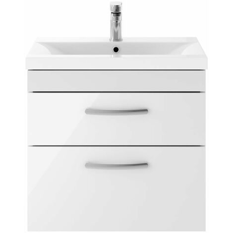 Nuie Athena Gloss White 600mm Wall Hung 2 Drawer Vanity Unit with 40mm Profile Basin - ATH048A