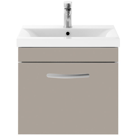 Nuie Athena Gloss White 600mm Wall Hung Single Drawer Vanity Unit with 40mm Profile Basin - ATH041A