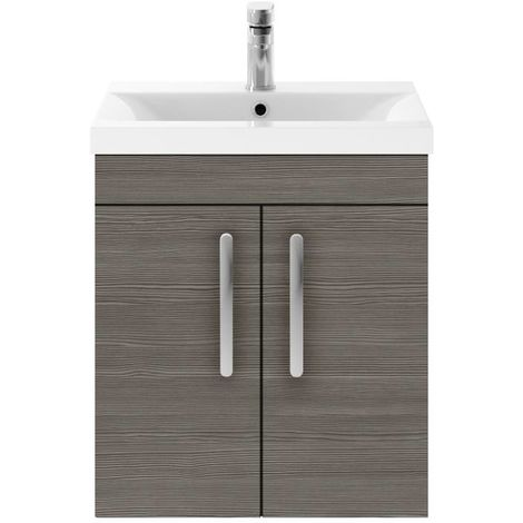 Nuie Athena Grey Avola 500mm Wall Hung 2 Door Vanity Unit with 18mm Profile Basin - ATH086B