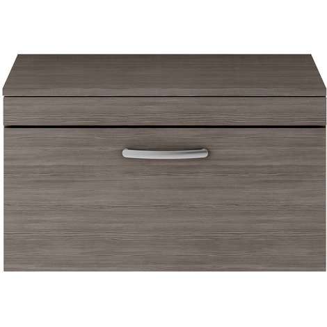 Nuie Athena Grey Avola 800mm Wall Hung Single Drawer Vanity Unit with Worktop - ATH060W