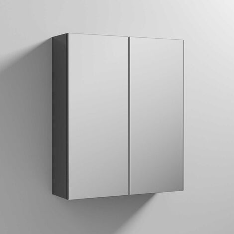 Nuie Athena Mirrored Cabinet (50/50) 600mm Wide - Gloss Grey