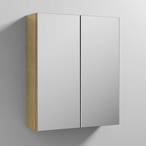 Nuie Athena Mirrored Cabinet (50/50) 600mm Wide - Natural Oak