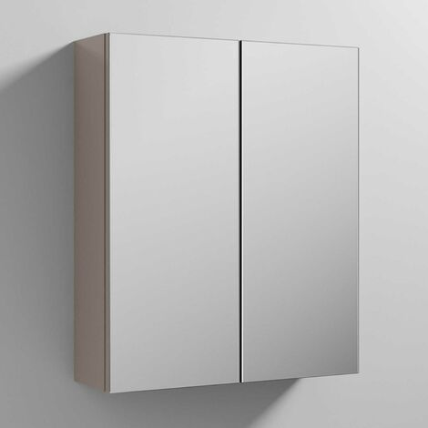 Nuie Athena Mirrored Cabinet (50/50) 600mm Wide - Stone Grey