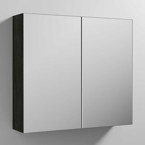Nuie Athena Mirrored Cabinet (50/50) 800mm Wide - Hacienda Black