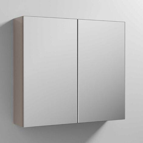 Nuie Athena Mirrored Cabinet (50/50) 800mm Wide - Stone Grey