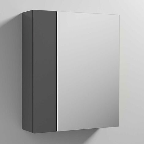 Nuie Athena Mirrored Cabinet (75/25) 600mm Wide - Gloss Grey
