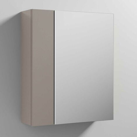 Nuie Athena Mirrored Cabinet (75/25) 600mm Wide - Stone Grey