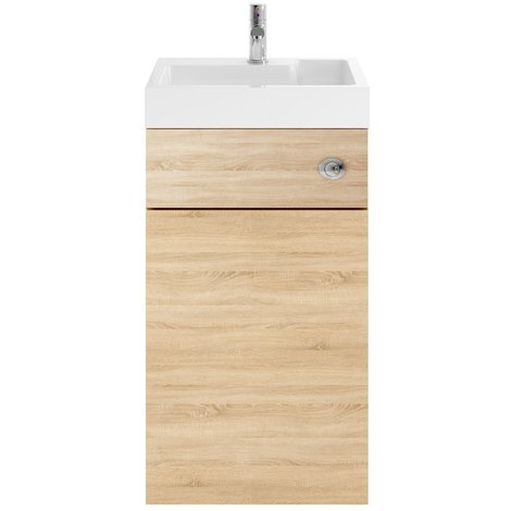 Nuie Athena Natural Oak 500mm Combination Vanity Unit with Basin and Cistern - PRC345CB