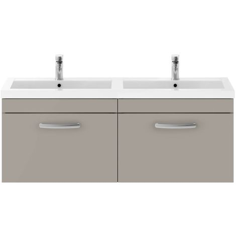 Nuie Athena Stone Grey 1200mm Wall Hung 2 Drawer Vanity Unit with Double Basin - ATH042C