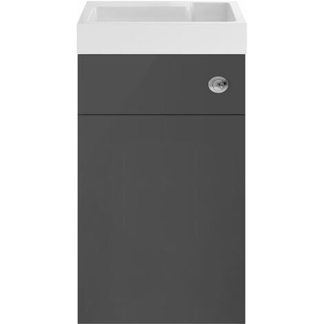 Nuie Athena Toilet and Basin Combination Unit 500mm Wide - Gloss Grey