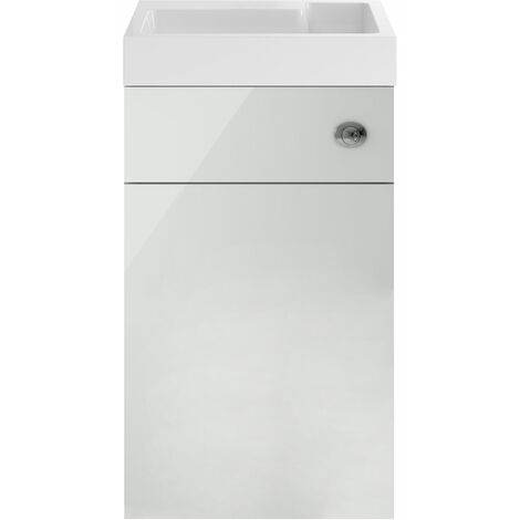 Nuie Athena Toilet and Basin Combination Unit 500mm Wide - Gloss Grey Mist