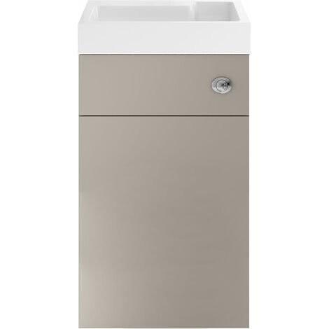Nuie Athena Toilet and Basin Combination Unit 500mm Wide - Stone Grey