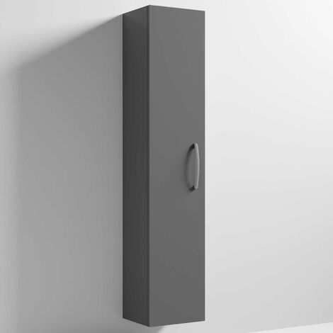 Nuie Athena Wall Hung 1-Door Tall Unit 300mm Wide - Gloss Grey