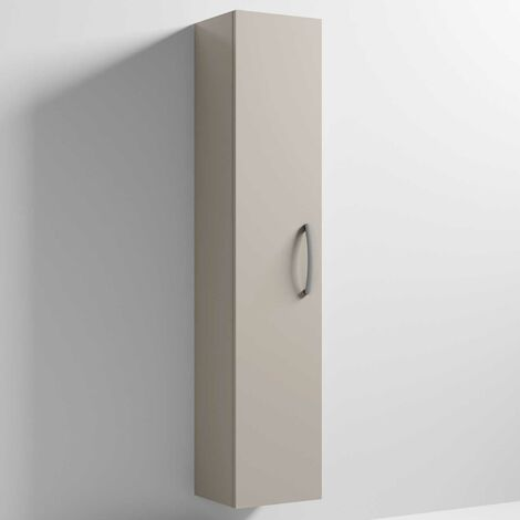 Nuie Athena Wall Hung 1-Door Tall Unit 300mm Wide - Stone Grey