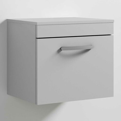 Nuie Athena Wall Hung 1-Drawer Vanity Unit and Worktop 500mm Wide - Gloss Grey Mist