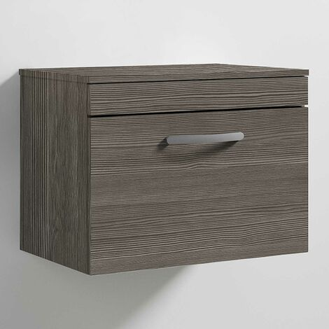 Nuie Athena Wall Hung 1-Drawer Vanity Unit and Worktop 600mm Wide - Brown Grey Avola