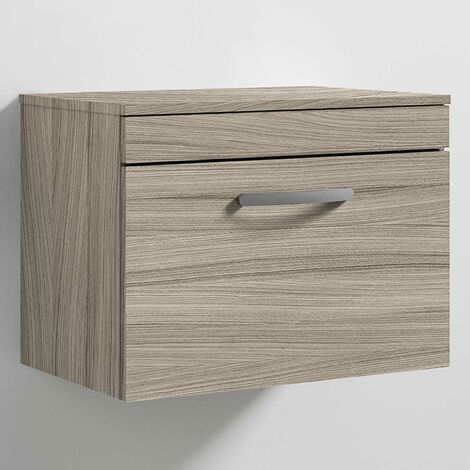 Nuie Athena Wall Hung 1-Drawer Vanity Unit and Worktop 600mm Wide - Driftwood