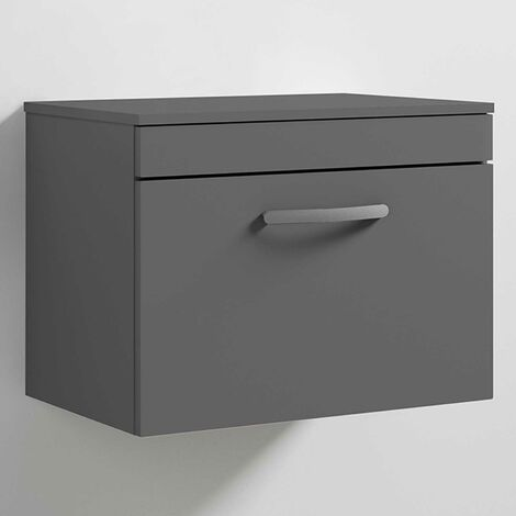 Nuie Athena Wall Hung 1-Drawer Vanity Unit and Worktop 600mm Wide - Gloss Grey